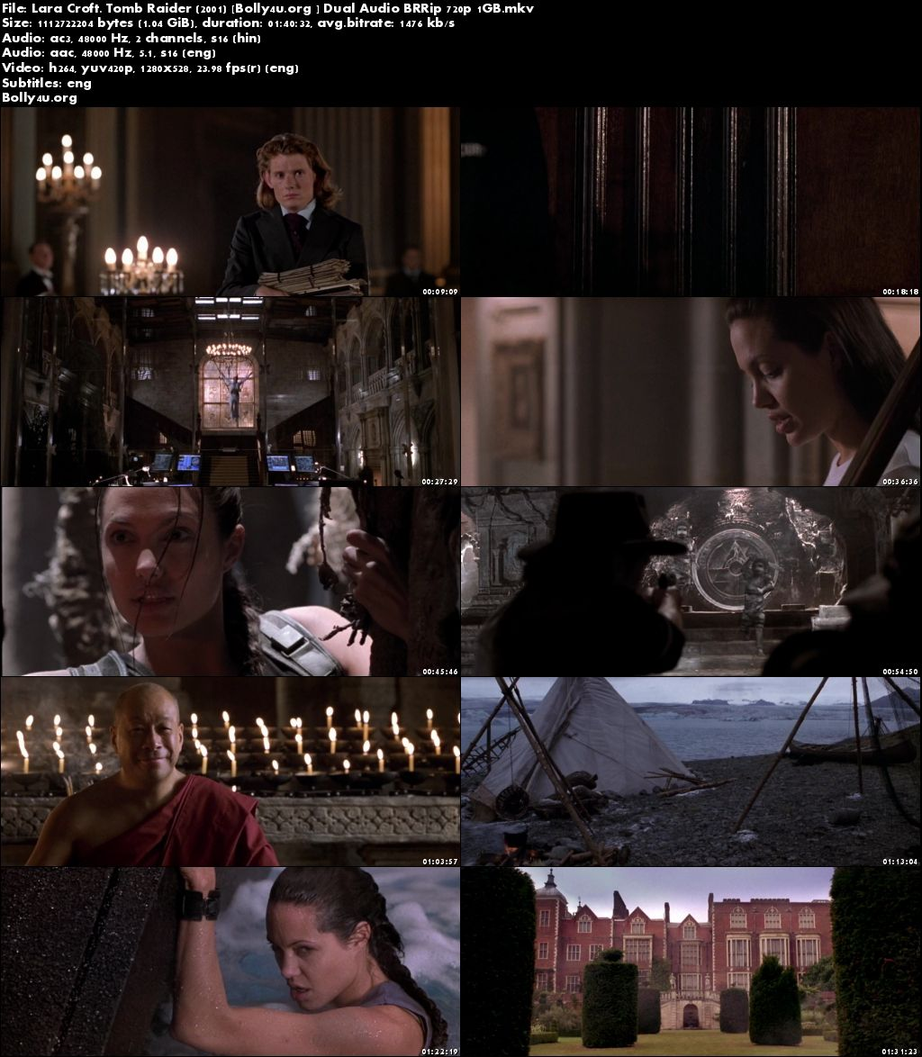 Lara Croft Tomb Raider 2001 BRRip 1Gb Hindi Dual Audio 720p Download