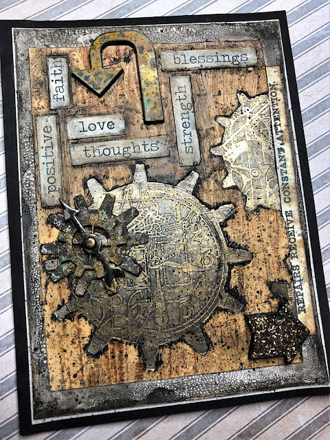 Sara Emily Barker https://sarascloset1.blogspot.com/2019/01/repairs-receive-constant-attention.html Tim Holtz Sizzix Alterations Gadget Gears Stampers Anonymous Inventor 1 Dapper Birch & Pine 1