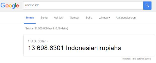 Cek kurs dollar ke rupiah menggunakan Search Google