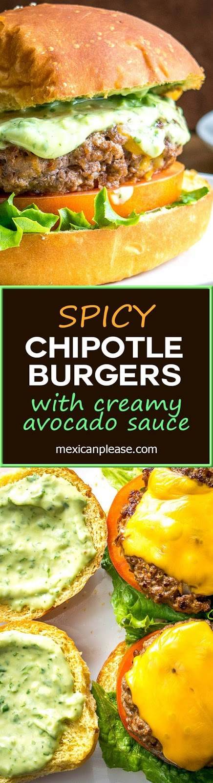 Chipotle Burgers with Creamy Avocado Sauce