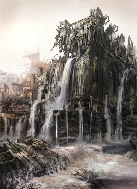 gears of war 3 concept artwork building with water