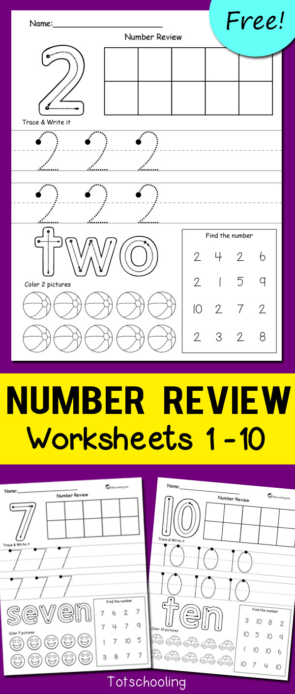 Number Review Worksheets | Totschooling - Toddler, Preschool ...