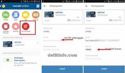 menu transaksi isi saldo LinkAja mandiri mobile