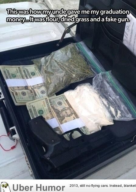 graduation money in suitcase with flour and grass looks like drug suitcase