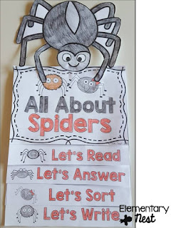 spider flip book with reading and comprehension activities- October Activities for a primary classroom- PLUS a freebie!