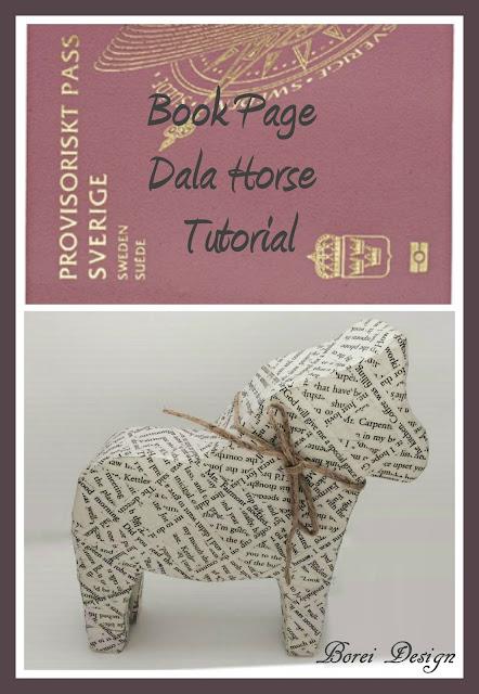 diy craft tutorial how to make a recycled book page dala horse or dalahast swedish Christmas