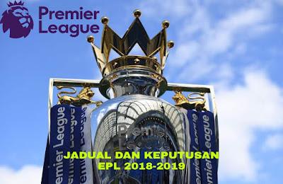 Keputusan Carta EPL 2018/2019 Liga Perdana Inggeris