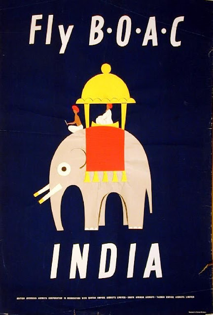 FLY B.O.A.C - India Vintage Travel Poster
