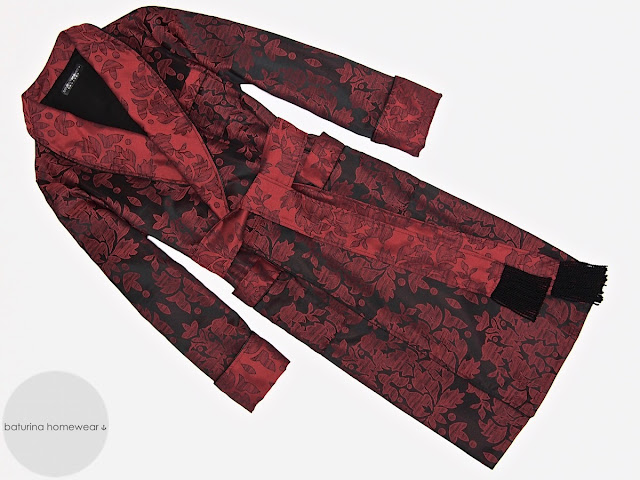 Mens red paisley cotton dressing gown luxury robe extra long warm