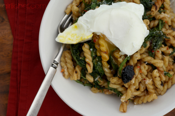 Pasta with Black Garlic, Kale, and a Poached Egg