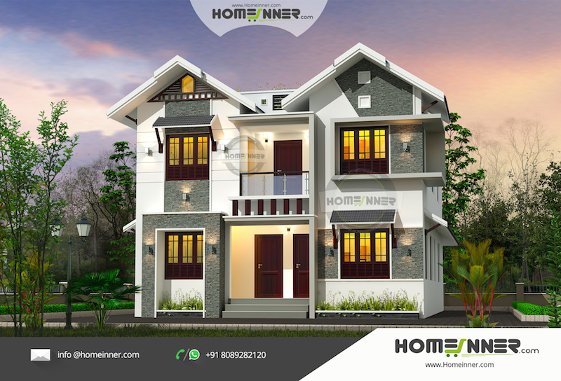 Attractive Two Separate Home Designs with a Single House Exterior 3D Design