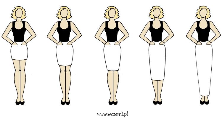 szerokie ramiona najlepiej prezentują się w spódnicy poszerzonej w biodrach