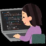 プログラミングをする人のイラスト(女性)