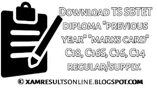 Download ts sbtet diploma previous year mark card