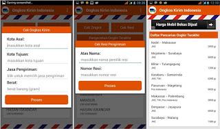 Aplikasi Android Cek Resi dan Ongkos Kirim JNE, TIKI, pos indonesia