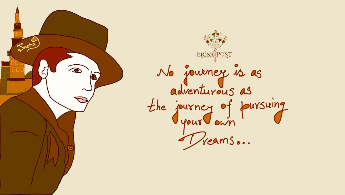 Man in hat and overcoat on adventurous journey of pursuing dreams to meet purpose of life: cartoon by Sneha