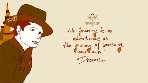 Quote on following dreams (Man in hat cartoon)