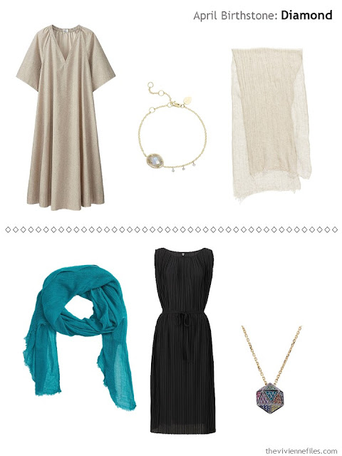 diamond accented jewelry with a beige dress, and with a black dress