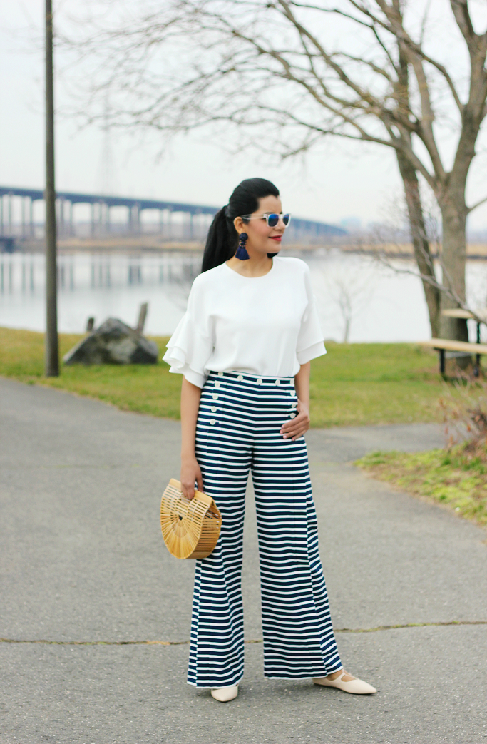 Cult Gaia Ark Bag, J.Crew Striped Sailor Pants, Wide Leg Sailor Pants, Ruffle Sleeve Top, Zara Frilly Top