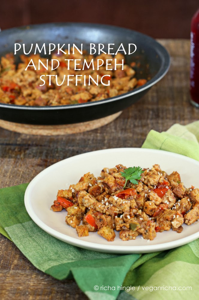 Vegan Pumpkin Bread and Tempeh Stuffing