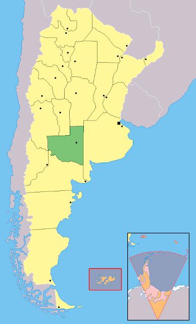 Mapa de localização da província de La Pampa - Argentina