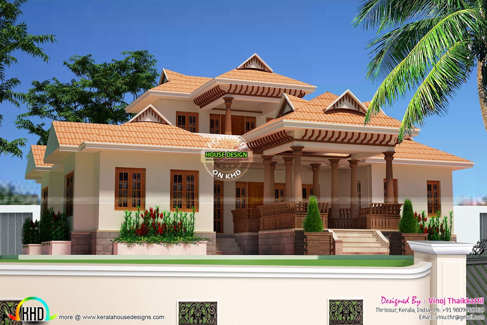 2325 Sqft Kerala Traditional Design 4bed room villa Kerala home