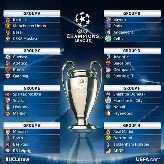 Keputusan Undian UEFA Champions League 2017/2018 Peringkat Kumpulan