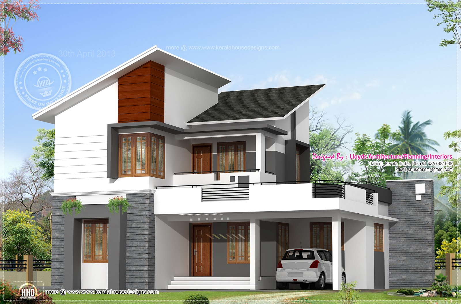 A semi contemporary villa with sloping roofs and open for Terrace elevation designs