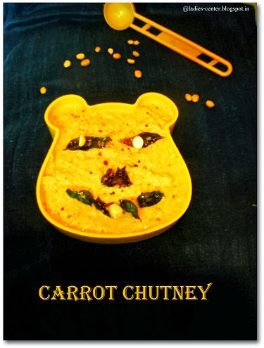 Carrot chutney recipe for Idli and Dosa
