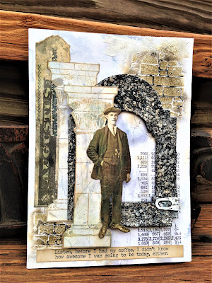 Sara Emily Barker http://sarascloset1.blogspot.com/ Before I Had My Coffee #timholtz #stampersanonymous #sizzixalterations #distressoxides Faux Marble Faux Granite 7