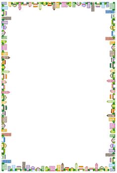 街のフレーム素材のイラスト(縦)