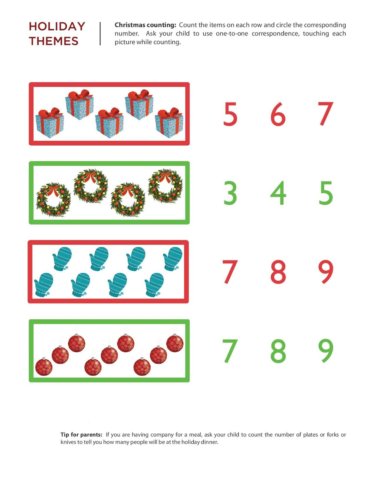 Xmas Math Worksheet Free