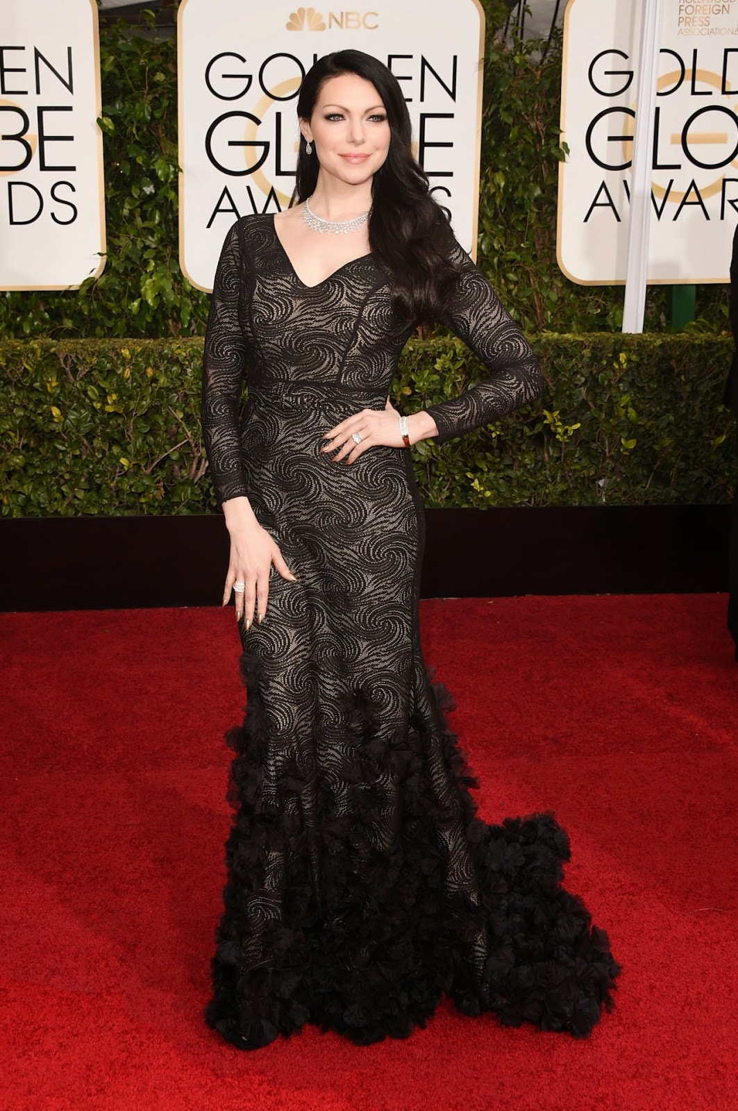 Laura Prepon stuns in a Christian Siriano dress at the 2015 Golden Globes
