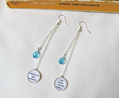 image swarovski crystal drop earrings shoulder dusters jewellery jewelry quote pride and prejudice film completely and perfectly and incandescently happy jane austen