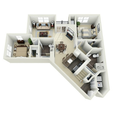 3D floor plan - irregular geometric shaped house