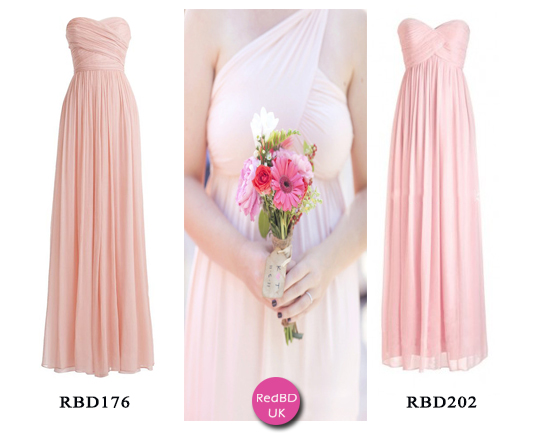 Chiffon Sweetheart Strapless Ruched Bodice Empire Style Long Bridesmaid Dress