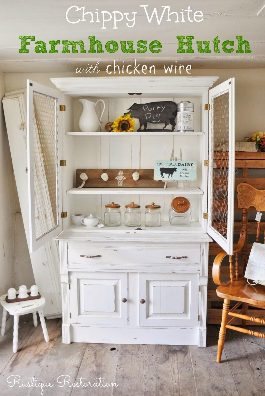Rustique Restoration: Chippy White Farmhouse Hutch
