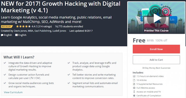 [100% Off] NEW for 2017! Growth Hacking with Digital Marketing (v 4.1)| Worth 195$