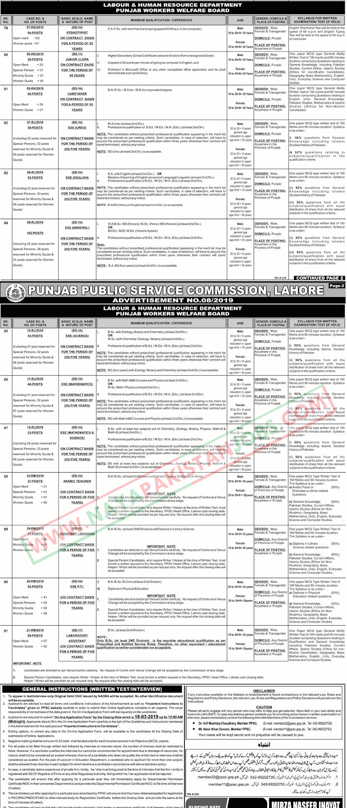 PPSC Jobs, PPSC Advertisement No 08, PPSC ESE Teacher Jobs, PPSC Labour and Human resource department jobs