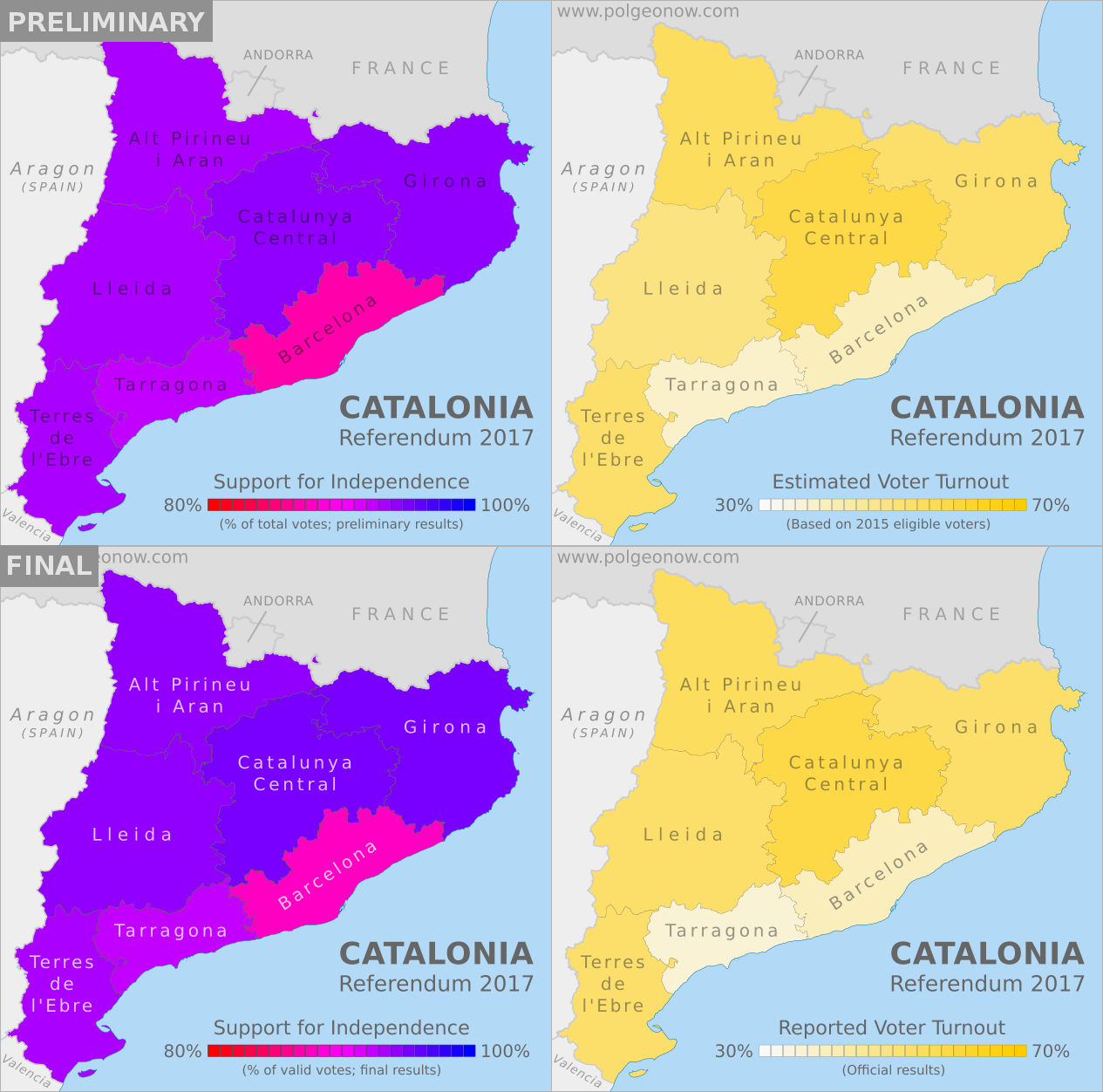 Map Of Tour Of Spain 2017.Updated Catalonia Referendum Results Maps How Did Each Region Vote