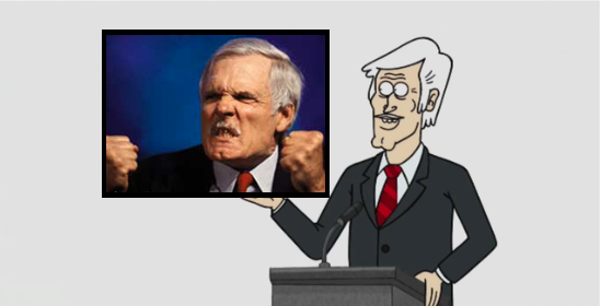 'And my live-action alter-ego's absurdist new anti-talk show, Ted Turner: Coast to Coast, starts at 8:05! Why do we start our shows five minutes late here on Live-Action Network? How the fuck should I know?'