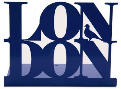 bookend with the word London, in blue