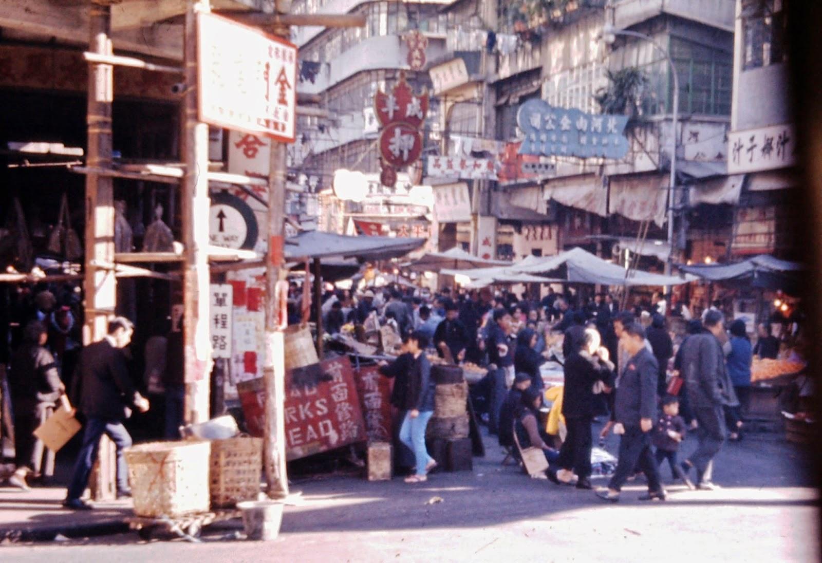 Busy Hong Kong Market - Hong Kong 1969