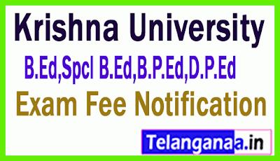 Krishna University B.Ed,Spcl B.Ed,B.P.Ed,D.P.Ed Exam Fee Notification