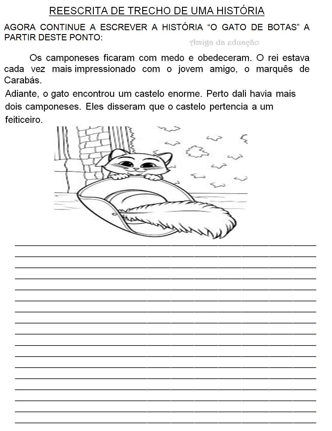 Amiga Da Educacao Producao De Texto Da Historia O Gato De Botas