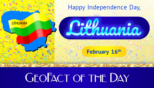 Info box showing that Lithuania celebrates an Independence Day on February 16th