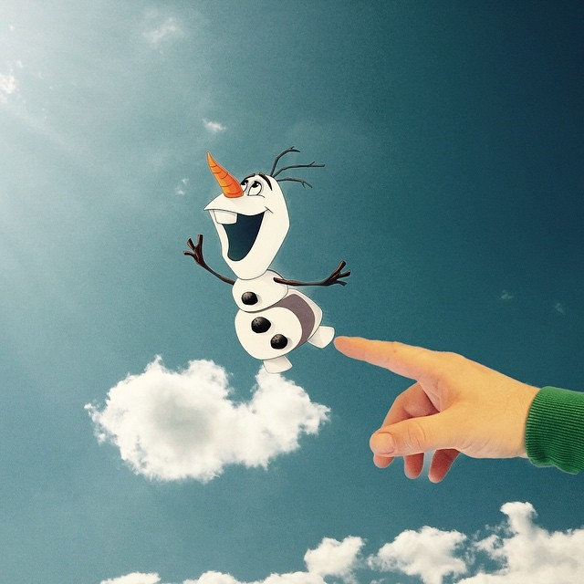 06-Olaf-From-Frozen-Marcus-Einspannier-Surreal-Digital-Photo-Manipulation-using-Clouds-www-designstack-co