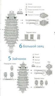 Животные из бисера объемный зайчик схема плетения