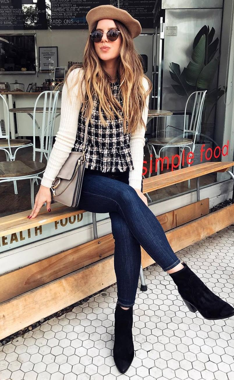 what to wear with skinny jeans : boots + nude hat + bag + plaid top