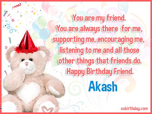 Akash Happy birthday friends always